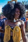 女同性恋,快乐,两性体和变性人的自豪感锡切斯,西班牙街道的17的 Juny, 2018年 免版税库存图片