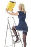 年轻女商人上升的梯子 库存照片