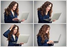 女商人不同的情感的拼贴画 库存图片
