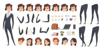 女商人动画 创作成套工具女性经理身体局部和办公室工具导航字符建设者 库存例证