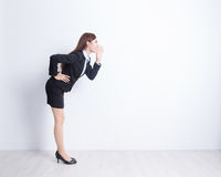 女商人呼喊 免版税图库摄影