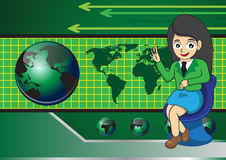 女商人和地球技术 免版税图库摄影