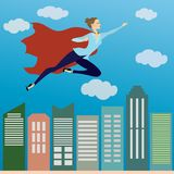 女商人在天空的超级英雄飞行在办公室skys上 免版税图库摄影