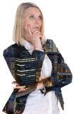 女商人女实业家认为认为信心希望城市 库存图片