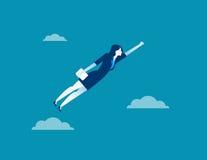 女商人字符飞行通过天空 概念事务 库存照片