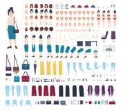 女商人字符建设者 女孩干事创作集合 不同的姿势,发型,面孔,腿,手,衣裳 库存例证