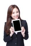 女商人展示片剂个人计算机 免版税图库摄影