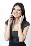 女商人愉快在电话 免版税库存照片
