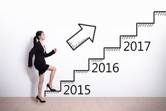女商人成功在新年 免版税库存图片