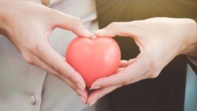 女商人拿着充满爱的` s手红色心脏对其中每一在地平线上方 图库摄影