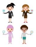 女商人有标志板材回答与真实和错误标志的正确或不正确,商人手赞许 库存例证