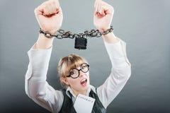 女商人用被束缚的手 免版税库存图片