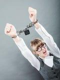 女商人用被束缚的手 免版税库存照片