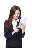 女商人用途片剂个人计算机 免版税库存照片