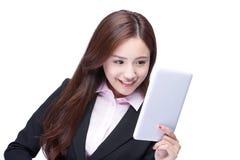 女商人用途片剂个人计算机 库存图片