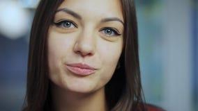 女商人画象 愉快的微笑的年轻白种人女性专业室内画象 股票视频