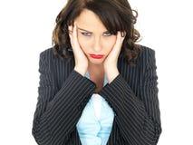年轻女商人的乏味联邦机关 免版税库存图片