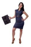 女商人的充分的身体礼服的有股份单的,公文包,隔绝在白色 库存图片