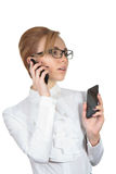 女商人谈话由电话 库存图片