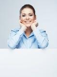 女商人,空白的委员会画象。 免版税库存照片