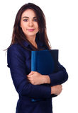 女商人画象有文件夹的在白色背景 免版税库存图片