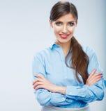 女商人画象,横渡的胳膊 免版税库存图片