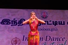 女士 Sudharma Vaithiyanathan,金奈,印地安妇女舞蹈家 库存照片