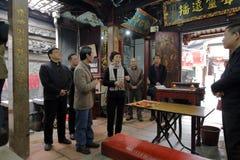 女士huangling的参观道士chiwanggong寺庙 免版税图库摄影