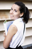 女大学生微笑的年轻人 图库摄影
