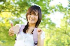 女大学生赞许 免版税库存照片