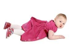 女婴一点纵向白色 免版税库存照片