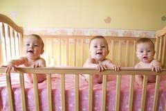 女婴三胞胎 库存图片