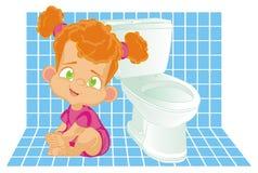 女婴和WC对象 皇族释放例证