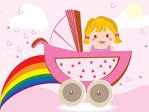 女婴婴儿推车 库存照片