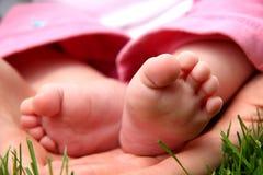 女婴少许mothe脚趾 免版税图库摄影