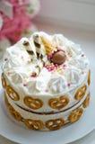女婴的手工制造生日蛋糕 图库摄影