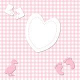 女婴粉红色方格花布背景 库存图片