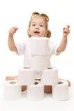 女婴纸张洗手间 免版税库存图片