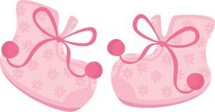 女婴鞋子 皇族释放例证