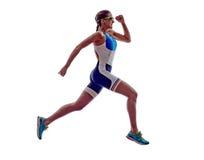 女子三项全能ironman赛跑者连续运动员 免版税库存照片