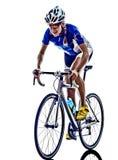 女子三项全能ironman运动员骑自行车者循环 库存图片
