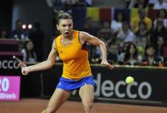 女子在比赛期间的网球员西莫娜・哈勒普 库存图片