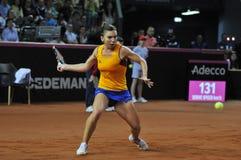 女子在比赛期间的网球员西莫娜・哈勒普 免版税库存图片