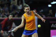 女子在比赛期间的网球员西莫娜・哈勒普 库存照片