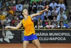 女子在比赛期间的网球员西莫娜・哈勒普 免版税库存照片
