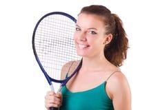 女子在白色隔绝的网球员 库存图片