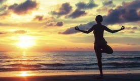 女子实践的瑜伽的剪影在美好的日落期间的 库存图片