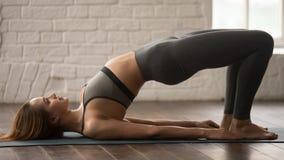 女子实践的瑜伽,做Glute桥梁锻炼,dvi pada pithasana 免版税库存照片