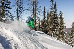 女子滑雪者通过粉末雪乘坐对山 冬季体育freeride 免版税库存图片