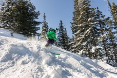 女子滑雪者通过粉末雪乘坐对山 冬季体育freeride 免版税图库摄影